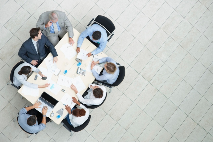 Top view of a business meeting in progress
